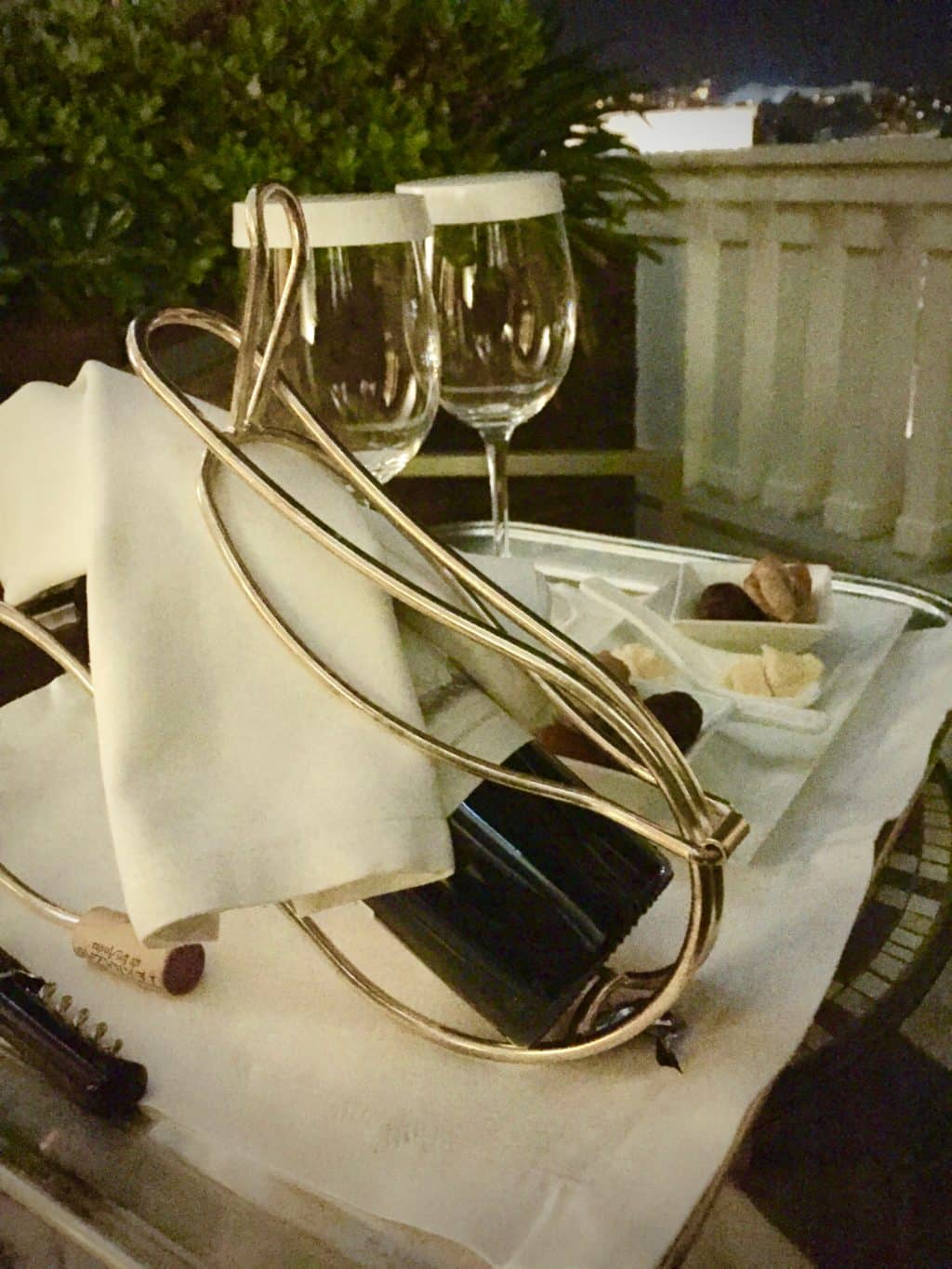 Champagne on balcony at Hotel Grande Bretagne Athens Greece