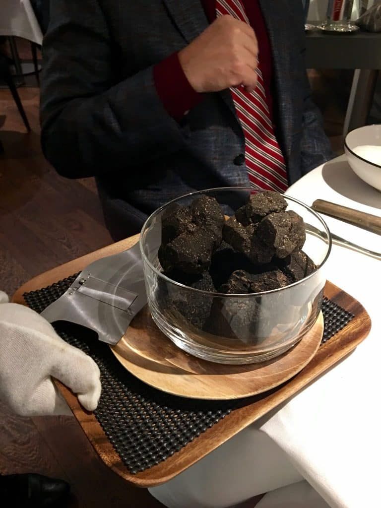 Black Truffles served at table Antoine