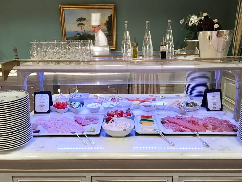 Display of breakfast meats on the buffet at Brenners Park-Hotel & Spa