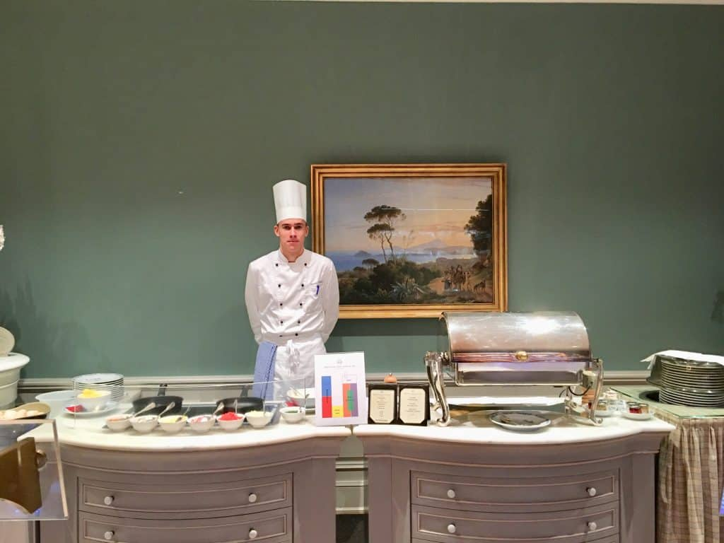 Brenners Park-Hotel & Spa breakfast; eggs how you like them. Set up with chef hot cook space