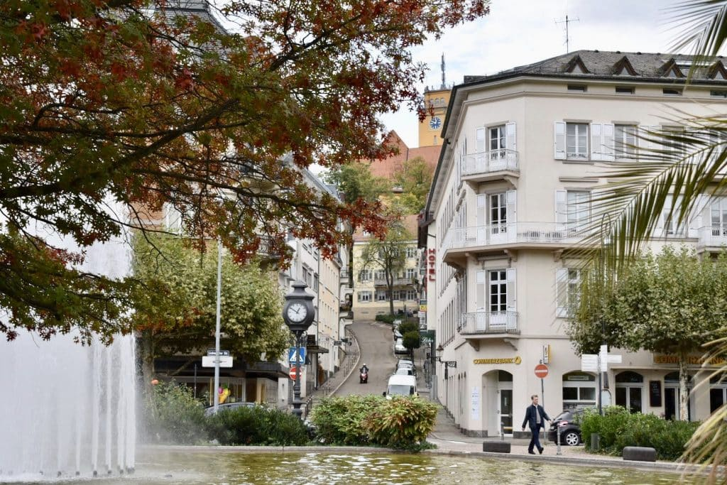 city view of Baden Baden with fountain