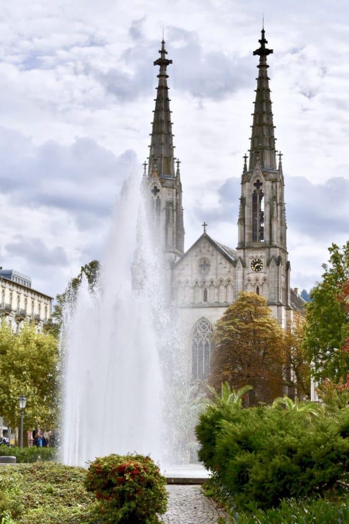 Baden Badens Evangelistic Town Church with fountain