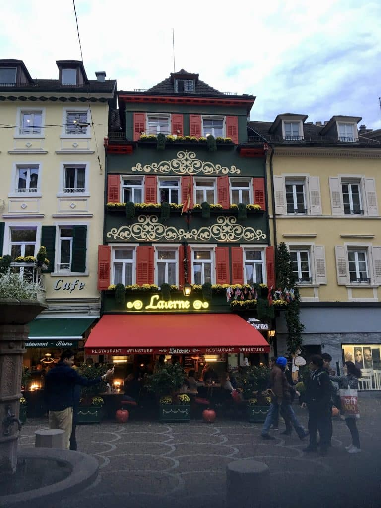 Old Town area with restaurants in Baden Baden Germany