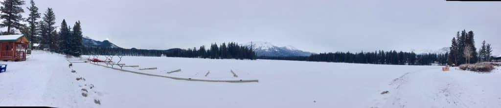 Jasper Fairmont snow covered view