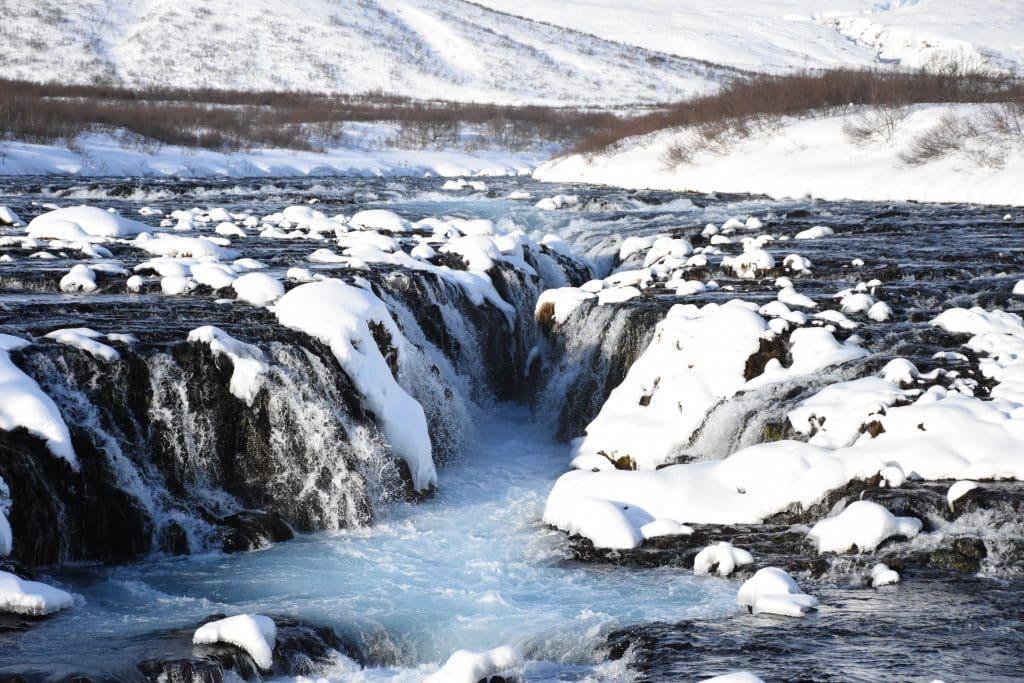 waterfall closeup at bruarfoss waterfalls Iceland