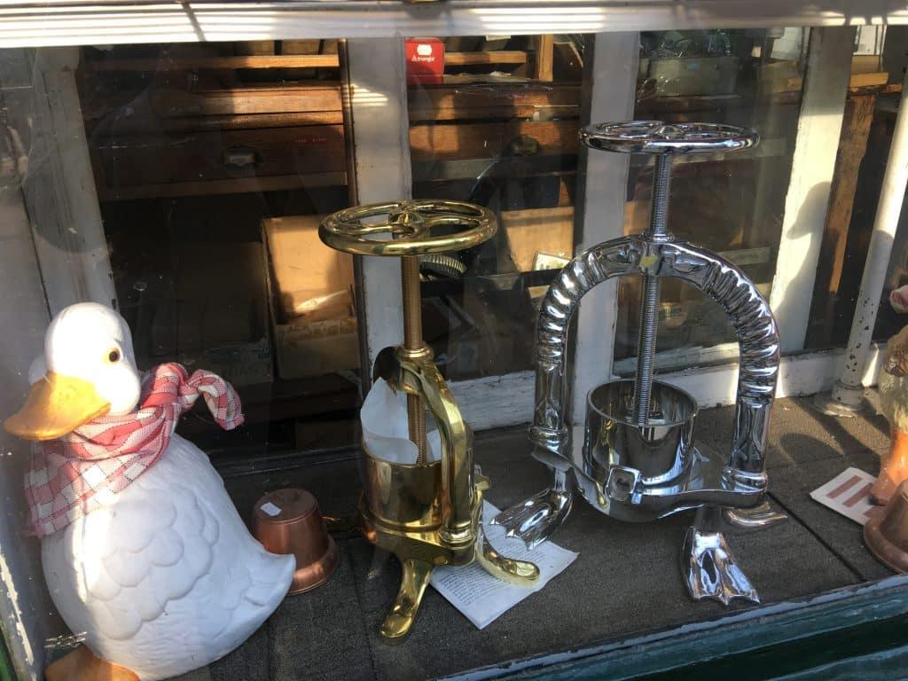 Duck Press in window shop