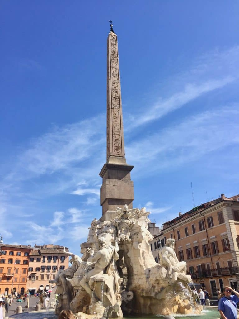 Fountain of the Four Rivers in Piazza in Rome Italy