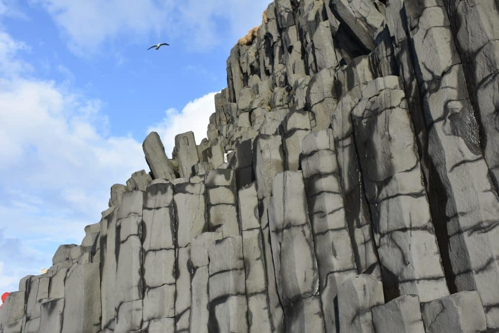 Basalt stone creation that look like steps at Black Sand Beach Iceland