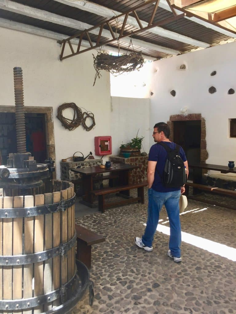 Walking in the winery at Santorini Greece