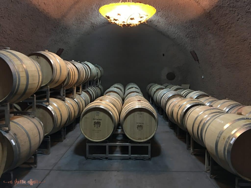 Wine barrels in winery