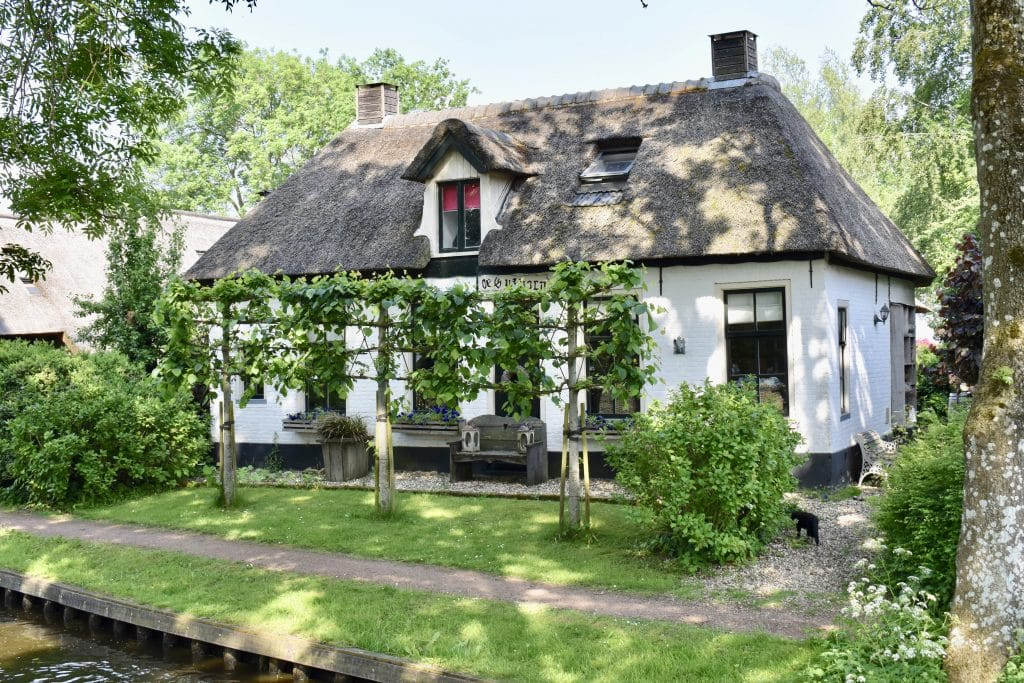 Cottage thatched roof in Giethoorn Netherlands