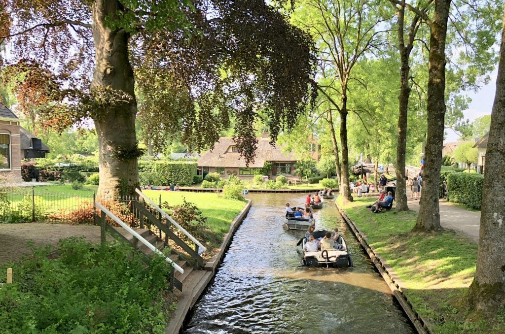 Giethoorn Netherlands canal with a few boats
