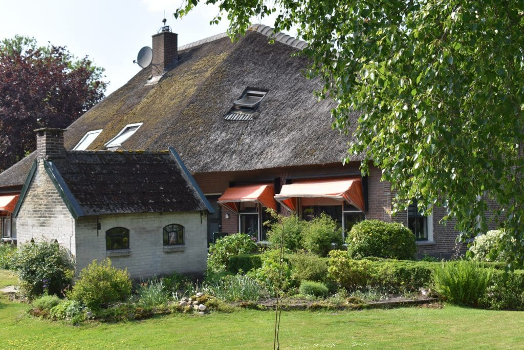 Thatched Roof home with chimney