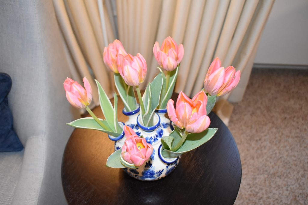 Tulips brought to our room at the Waldorf Astoria Amsterdam
