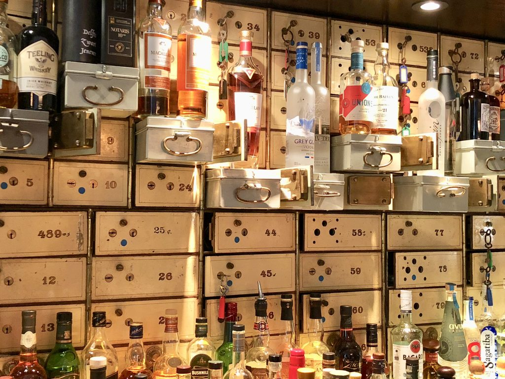 The Vault Bar at the Waldorf Astoria Amsterdam with save deposit boxes