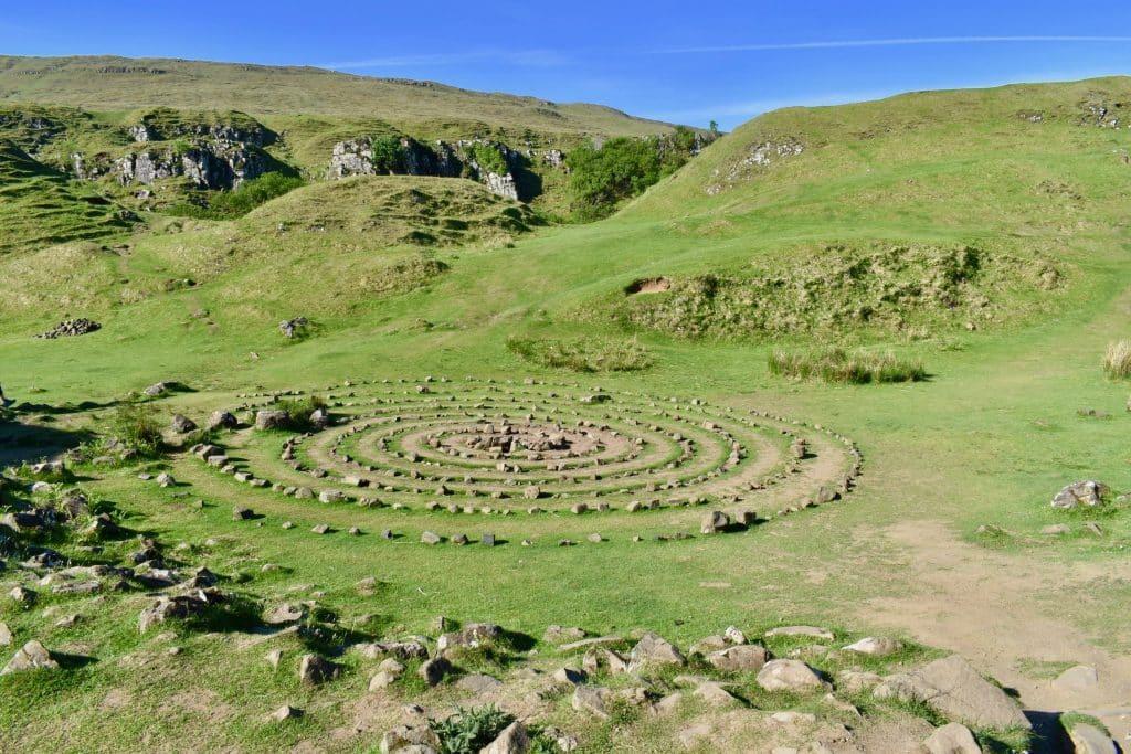Stone circular structure at the Fairy Glen of Uig, Isle of Skye Scotland