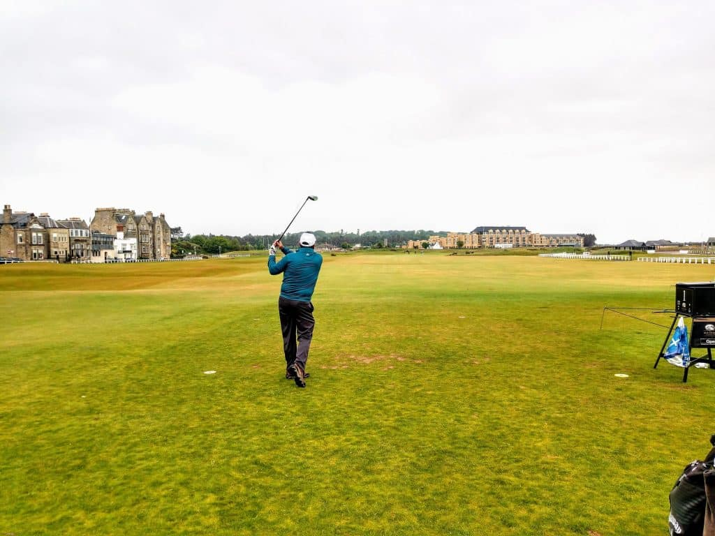 Checking where that swing on the old course St. Andrews