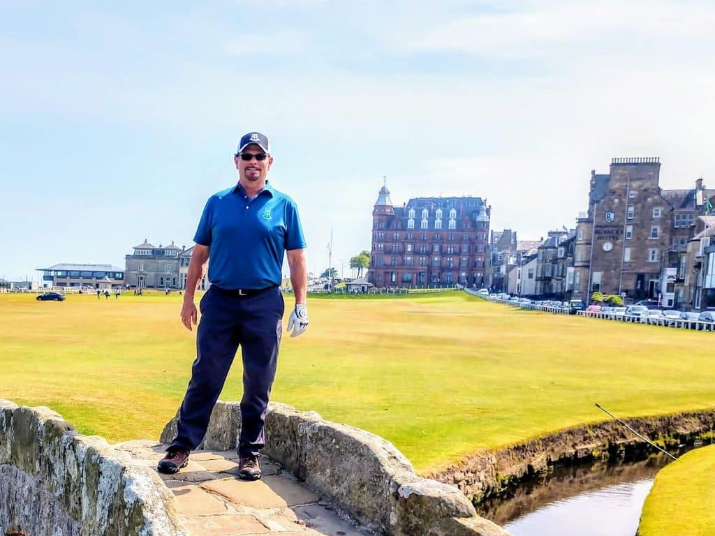 Kevin on the bridge at the Old Course St. Andrews