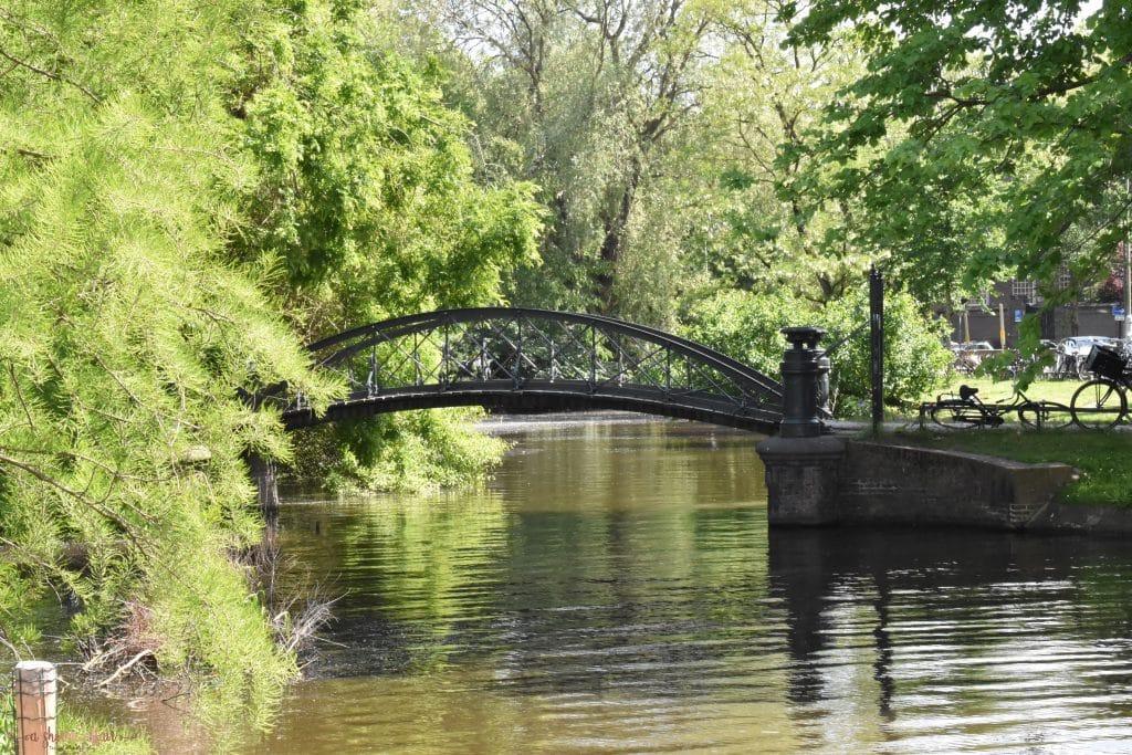 garden bridge over water in Amsterdam