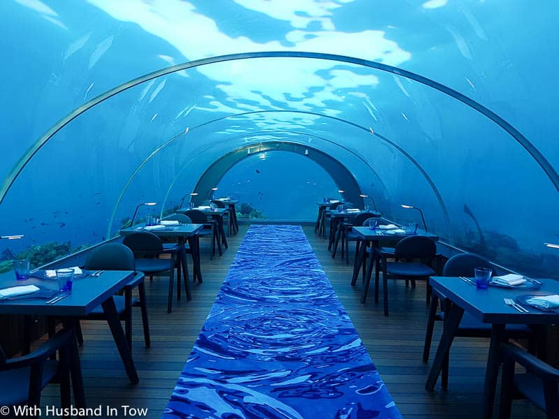 Dining underwater in Luxury in the Maldives