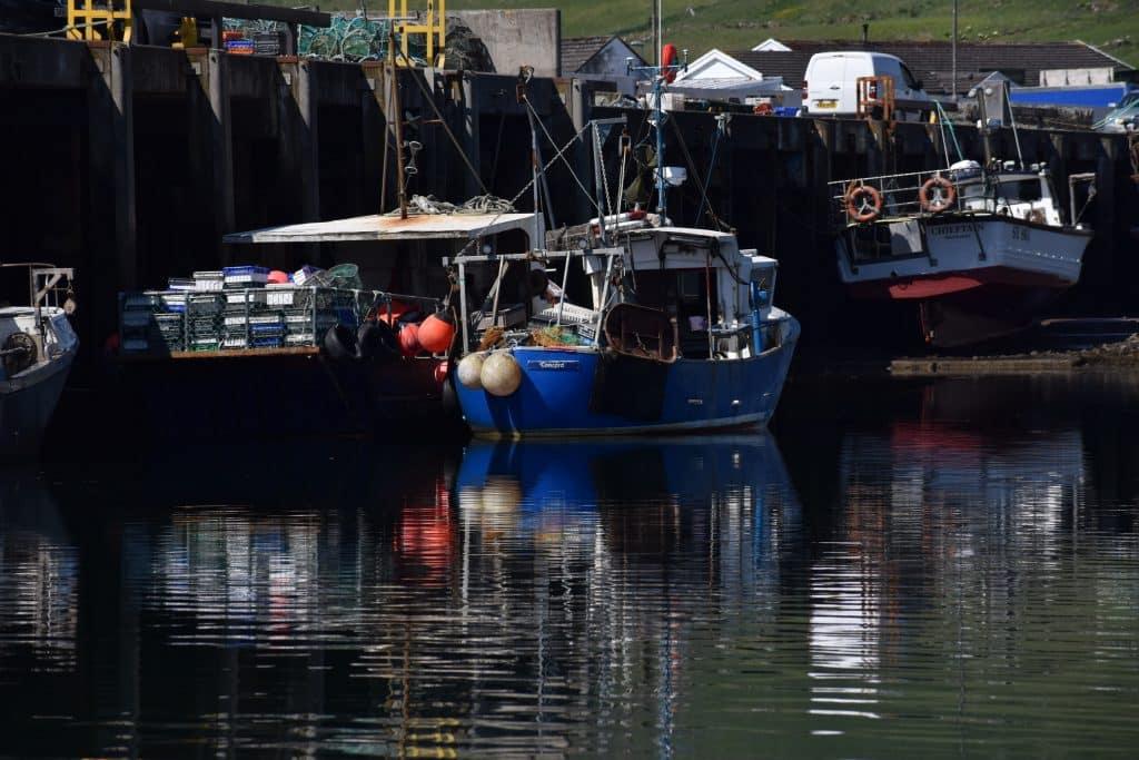Boats at dock in Uig Isle of Skye