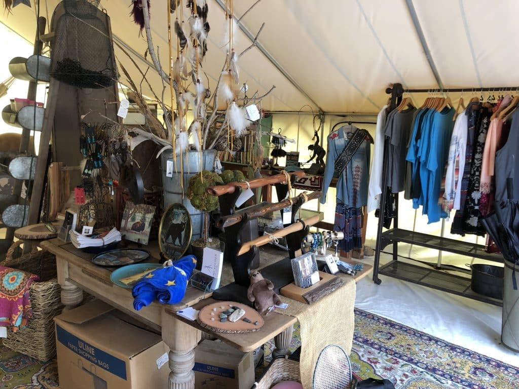 Tent store with Montana items